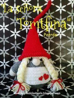 """¡Hola!. Hoy llega al blog """"La señora Tomtfina"""" . Con ella ya tenemos los patrones de """"La familia Tomtez"""" al completo. Si os habéis fija..."""