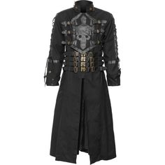 A steampunk version of the popular gothic men's coat, the Hellboy design features the clasp-closure design, with skull application chest plate, brass hardware.