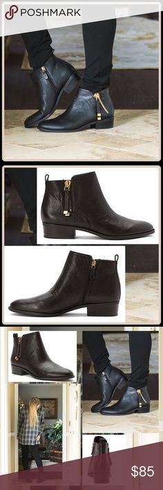 """FALL PREVIEW  DOUBLE ZIPPER ANKLE BOOTIE -Leather upper -Ornamental lateral zipper outside -Inside zipper allows easy on/off -Stacked heel 1.5"""" -Cushioned footbed -Faux leather lining -Heel pull-on loop -Synthetic outsole -Boot opening 10.25"""" -Shaft 4"""" -Runs true to fit/tired on never worn   2+ BUNDLE=SAVE  ‼️NO TRADES--NO HOLDS   Brand Authentic   ✈️ Ship Same Day--Purchase By 2PM PST   USE BLUE OFFER BUTTON TO NEGOTIATE   ✔️ Ask Questions Not Answered In Description--Want You Yo Be Happy…"""