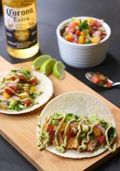 Spicy Fish Tacos with Mango Salsa and Avocado Cilantro Crema