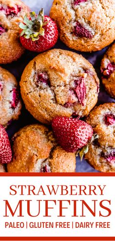 Paleo strawberry muffins are some of the best paleo snacks. They also make a delicious paleo breakfast recipe. These gluten free strawberry muffins are made with a mix of almond flour and coconut flour. Going paleo is easy when you have easy gluten free muffins like these! Gluten and dairy free muffin recipes are so tasty! These gluten free healthy muffins are made with fresh strawberries. Pin this to your best paleo muffin recipes board! #muffins #paleo #glutenfree #simplyjillicious #yum