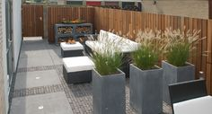 BuitenDesign - actertuin I want those tall planters!!!