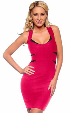 Cross Back Fitted Bandage Clubwear Cocktail Party Dress (Small, Fuschia and Black) Hot from Hollywood, - 40