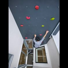 Climbing wall instead of stairs, in case you get bored of using stairs :) how freaking cool!!!