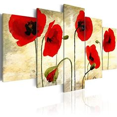 5 Panels Red Flower Painting on Canvas Elegant Poppies Floral Artwork Modern Wall Art Picture Print for Living Room Flower Painting Canvas, Flower Canvas, Flower Art, Frames On Wall, Framed Wall Art, Canvas Wall Art, Wall Art Pictures, Print Pictures, Floral Artwork