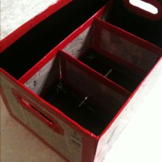 Diapper box organizer using the flap for dividers inside the box. I'd cover it in fabric rather than news paper