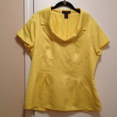 Cute yellow top Very cute satin look cowl neck top. Satin look material. Never worn. Chadwicks Tops