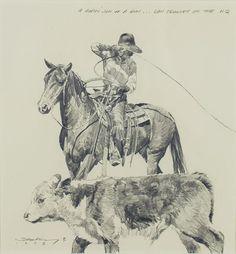 """Robert Shufelt : A Ropin' Son of a Gun,  pencil on paper, 10 5/8x 10"""""""