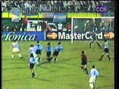 Argentina 2 Uruguay 0 in 1999 in Luque. Martin Palermo hits a fine goal on 56 minutes to make it 2-0 in Group C at Copa America.