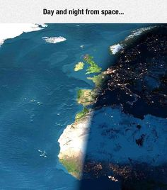 photo-satellite: le jour et la nuit Earth And Space, Night On Earth, Day For Night, Night Time, Photo Satellite, Rare Images, Images Aléatoires, Sistema Solar, All Nature