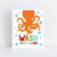 kids bathroom art set - sea themed prints - colourful kids decor, childrens art wash your hands flush brush splash, shark octopus fish whale Octopus Bathroom, Kids Bathroom Art, Childrens Bathroom, Octopus Print, Sea Art, Nursery Prints, Kids Decor, Art For Kids, Fine Art Prints