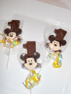12 Disney Mickey Mouse 1st First Birthday Gourmet Chocolate Lollipops Birthday Gifts Party Favor Kids. $15.00, via Etsy.