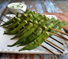 Peppery Grilled Okra & Lemon-Basil Dipping Sauce - Life, Love, and Good Food