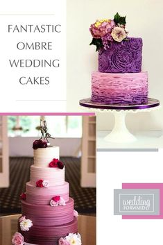 Ombre wedding cakes are one of the most popular type of cakes. Mix ombre effect with flowers, ruffles and watercolor wedding cakes to impress your guests. #weddingforward #wedding #bride #weddingcakes