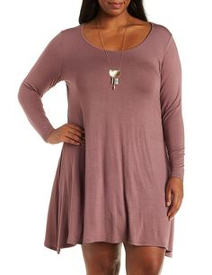 Plus Size Taupe Long Sleeve Swing T-Shirt Dress by Charlotte Russe