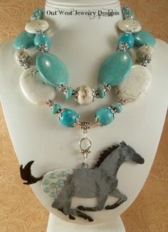 custom request - white & turquoise howlite with a grey appy horse pendant by Out West Jewelry Designs  www.etsy.com/shop/Outwestjewelry