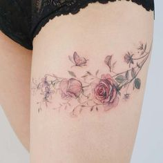 Flower Tattoo by 타투이스트. 타투이스트 꽃 artist works on women's tattoos and works exclusively for women. Continue Reading and for more Flower Tattoo designs → View Website Mini Tattoos, Rose Tattoos, Body Art Tattoos, Small Tattoos, Floral Thigh Tattoos, Rose Tattoo Thigh, Gorgeous Tattoos, Pretty Tattoos, Tattoos Lindas