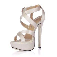 [R$ 195.42] Mulher como o cetim de seda Salto agulha Sandálias Sapatos abertos com Fivela (047017931)