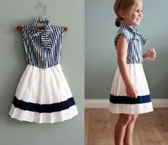 Girls Striped Tie Collar Dress