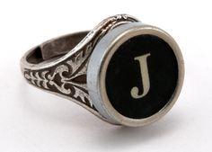 Initial Letter J Antique Typewriter Oak Leaf Ring - Black or White Keys - Fully Adjustable - Jewelry Box. $49.99, via Etsy.