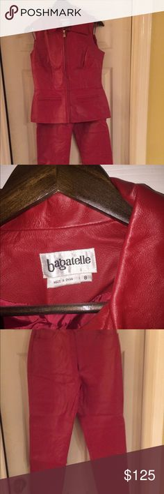 Genuine red leather suit only worn once. Stunning red leather suit. Would be great for your holiday party. Has not stains or spots. Bagatelle Pants Straight Leg