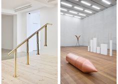 LEFT TO RIGHT: Hassan Khan, Bank Bannister (Bannister Bank), 2010. Brass, 209 x 206 x 22 cm, edition 1/3. Solomon R. Guggenheim Museum, New York, Guggenheim UBS MAP Purchase Fund 2015.94 © Hassan Khan; Iman Issa, Heritage Studies no. 10, 2015. Copper, aluminum, and vinyl, 55 x 235 cm. Edition 1 of 3. Solomon R. Guggenheim Museum, New York, Guggenheim UBS MAP Purchase Fund © 2015.91. Iman Issa. Installation view: Iman Issa: 'Heritage Studies,' Pérez Art Museum Miami, April 2, October 4, 2015…