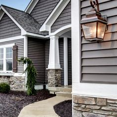 Craftsman style pillars!!  Love the stone and color combo!!!