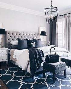 Bedroom Goals A new video just went live on my channel ~ it's a furniture shopping VLOG! Hit the link in my bio to watch, you'll see which headboard I chose along with lots of other homeware bits ☝ (image from Pinterest) #youtube #vlog #masterbedroom