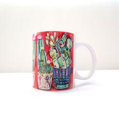 Caneca de Porcelana imagem Cactus fundo vermelho