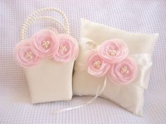 On sale and other colors available! White, Ivory, Pink, Mint, Peach Excited to share the latest addition to my #etsy shop: Ivory Cream Flower Girl Basket and Pillow Singed Chiffon Flowers Ring Bearer Pillow, Flower Girl Basket Wedding Pillow http://etsy.me/2Ea4gKj #wed