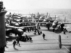 Doolittle Raid, April 18, 1942. B-25's on flight deck of USS Hornet (CV-8) en-route to Tokyo, Japan. Official U.S. Navy Photograph, now in the collections of the National Archives.