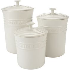 White Kitchen Canisters | Le Creuset White Stoneware Canisters - Canisters, Crocks & Jars - Hous ...