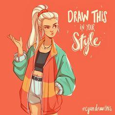Cool Art Drawings, Art Drawings Sketches, Cartoon Drawings, Drawing Ideas, Drawing Drawing, Dragon Drawings, Easy Drawings, Art Challenge, Drawing Challenge