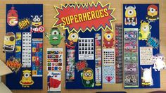 Superheros display, a mixture of superhero minions, books and infographics   Radford Secondary Library