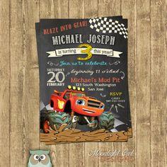 Blaze Monster Truck Birthday Invitations