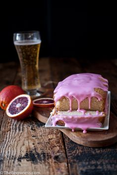 Blood Orange Beer Pound Cake