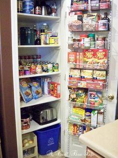 A Stroll Thru Life: Maximum Storage In A Small Linen Closet Small Pantry Closet, Pantry Closet Organization, Pantry Shelving, Pantry Storage, Closet Storage, Kitchen Storage, Food Storage, Pantry Rack, Organized Pantry