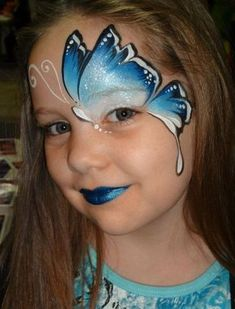 Elegant Blue Butterfly Face Painting by alison.richardsondouglas Elegant Blue Butterfly Face Painting by alison. Girl Face Painting, Body Painting, Face Paintings, Simple Face Painting, Easy Face Painting Designs, Watercolor Painting, Kids Makeup, Eye Makeup, Makeup Ideas