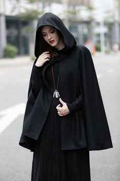 Black wool cape with hood