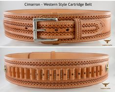 """Western Style Cartridge Belt featuring the """"Cimarron"""" design. Custom Leather Holsters, Leather Belts, Leather Case, 1911 Holster, Gun Holster, Vertical Shoulder Holster, Cross Draw Holster, Western Holsters, Leather Projects"""