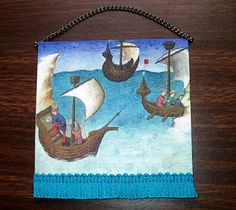 Medieval Ships Tapestry, Dollhouse Miniature 1/12 Scale, Hand Made in the USA by CalicoJewels on Etsy https://www.etsy.com/listing/159523083/medieval-ships-tapestry-dollhouse