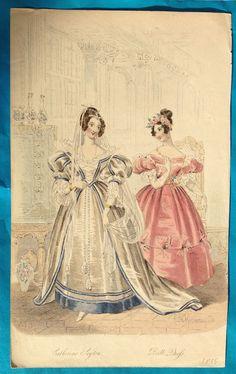 Antique 1835 Belle Assemblee Court Magazine fashion print