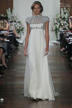 High Neck Cap Sleeve Beaded Jewelry Beach Wedding Dresses Chiffon Empire Pregnant Dress 2014 Kristen Bell In Jenny Packham Evening Prom Gown