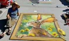 "4-8-2017 My final piece ""There's a Hare on my Square"" (Pastel on concrete -  6' x 6')  at the Spring Fever in the Garden festival at Winter Garden, Florida"