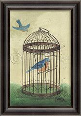Birds in Cage Blue Art