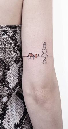 Unique Dog Ballerina Landscape Back of Elbow Tattoo Ideas for Women -  ideas únicas del tatuaje del pequeño perro para las mujeres - www.MyBodiArt.com