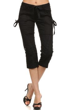 Twill Capri with drawstrings
