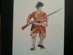 """British Colonial Soldier with Flintlock Rifle and a fixed bayonnet """"Fixed"""" print 11x14"""" Prismacolor Premier Color Pencil on Strathmore"""
