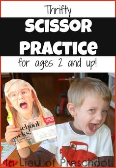 Thrifty Scissor Practice - for ages 2 and up! Sometimes just 10 minutes a day, 2-3 times a week can make all the difference. This is one thing I find most preschoolers cannot do....use scissors. Why? Some Parents will not sit down for a few minutes with their child to learn how to use them.