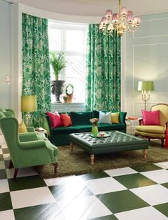 Maybe a little too much green (if there is such a thing) but I love the curtains and that big ottoman and the checkboard floor.  I'd probably go with a white slipcovered couch and plantation style side chairs.